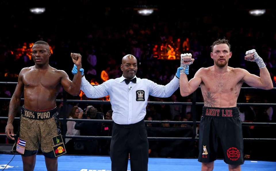 Peter Quillin and Andy Lee stand with the