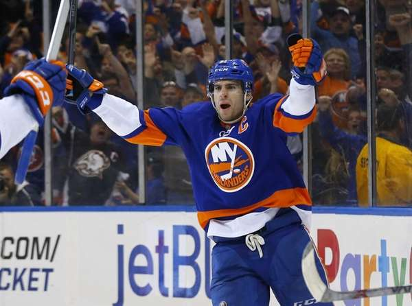 John Tavares of the New York Islanders celebrates