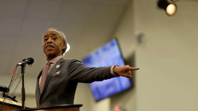 The Rev. Al Sharpton speaks during a church