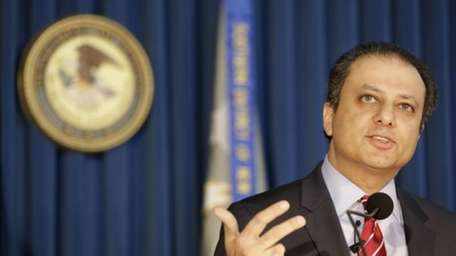 U.S. Attorney Preet Bharara addresses members of the