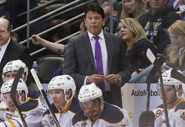 Buffalo Sabres coach Ted Nolan watches his team