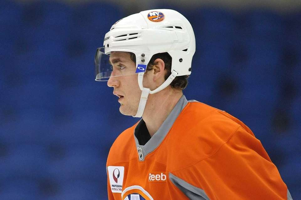Brock Nelson skates during the Islanders' team practice