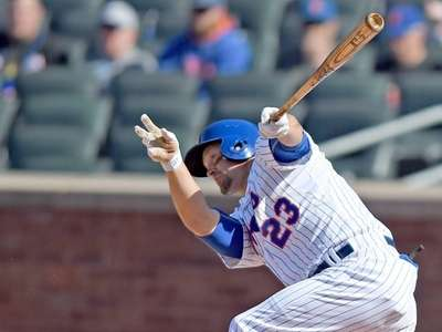 Michael Cuddyer hits a single during the eighth