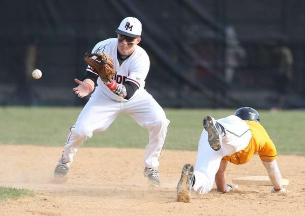 Patchogue-Medford's Brett Malm (2) reaches for Ward Melville's