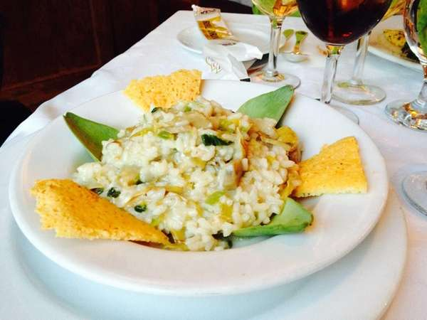 Risotto with artichokes is served at Stresa in