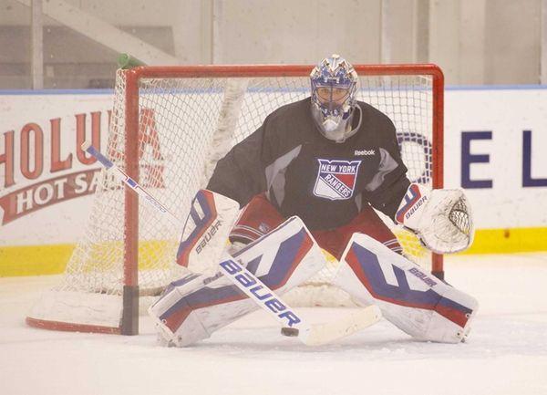 New York Rangers goaltender Henrik Lundqvist practices at