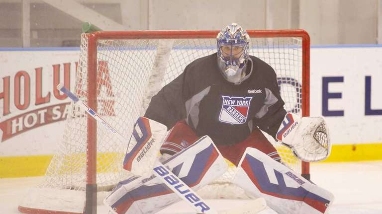 New York Rangers goaltender Henrik Lundqvist practices at