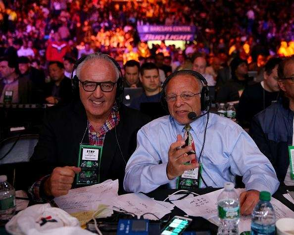 SiriusXM broadcasters Gerry Cooney, left, and Randy Gordon