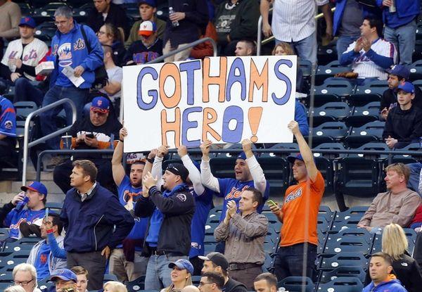 New York Mets fans hold a Matt Harvey