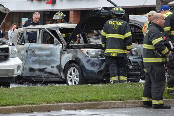 Eastport firefighters respond to a car blaze after