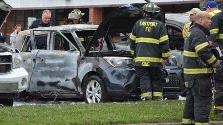 Eastport firefighters respond to a car blaze after
