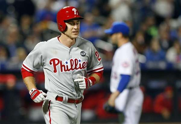 Chase Utley of the Philadelphia Phillies walks to