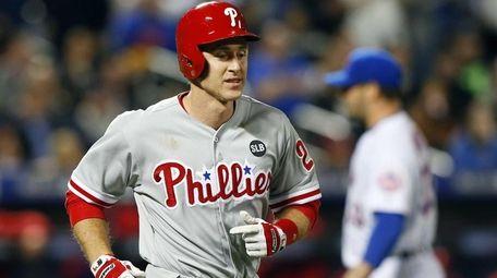Chase Utley of the Philadelphia Phillies walks to