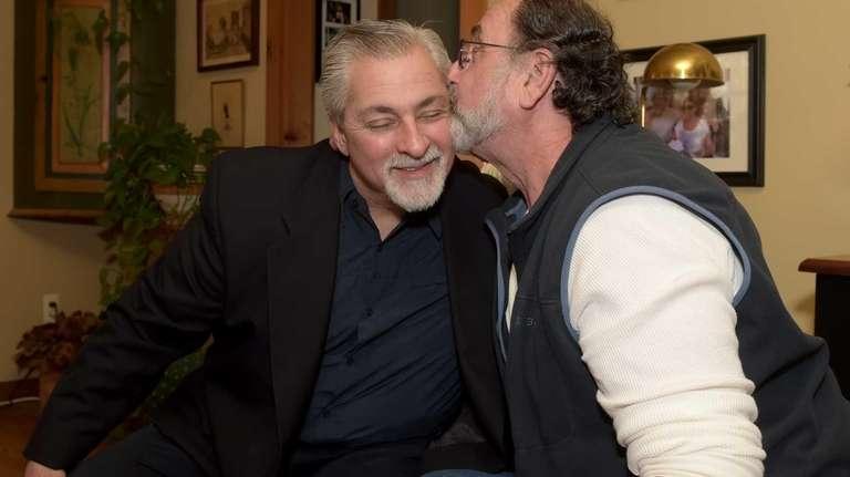 Anthony Cenzoprano gets a kiss from Martin Bobek