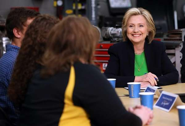 Hillary Rodham Clinton speaks during a roundtable discussion