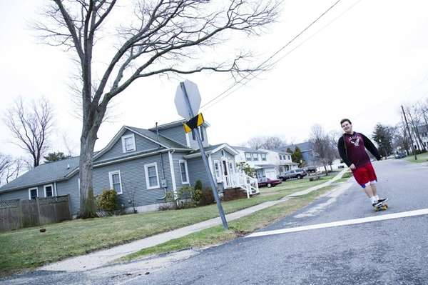 Nick Rozzeta, 19, of Islip Terrace, rides a