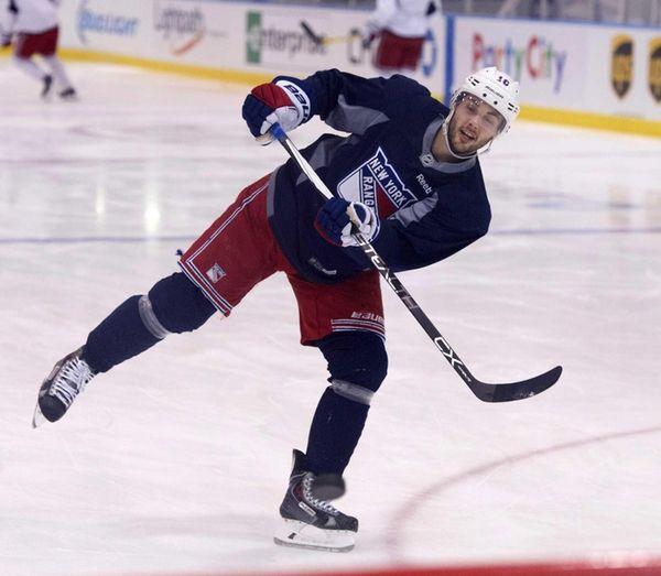 Derick Brassard of the New York Rangers practices