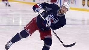 Derick Brassard of the New York Rangers practices