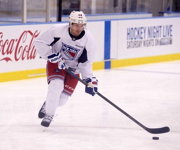 Matt Hunwick of the New York Rangers practices