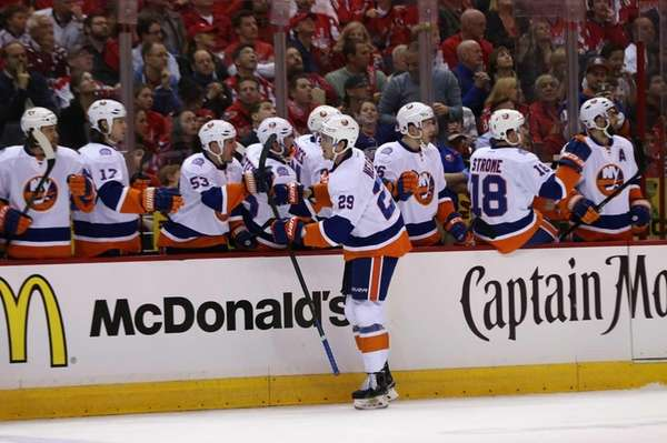 Brock Nelson of the New York Islanders celebrates