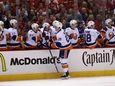 Brock Nelson of the New York Islanders celebrates