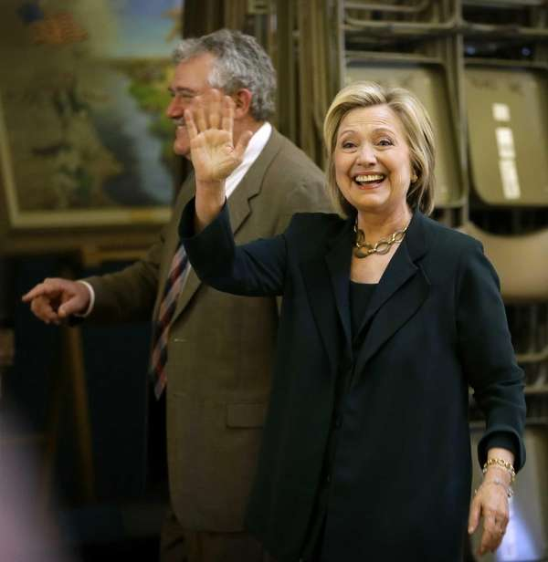 Democratic presidential candidate Hillary Rodham Clinton waves as