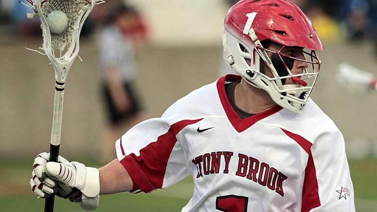Stony Brook midfielder Mike Rooney (1) brings the