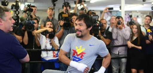 Manny Pacquiao trains for his upcoming fight at