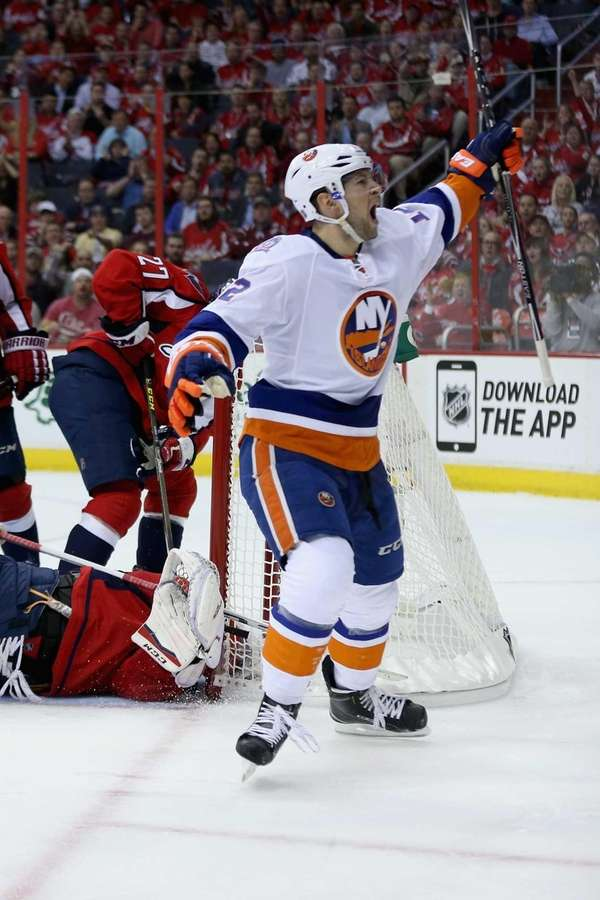 Josh Bailey of the New York Islanders celebrates