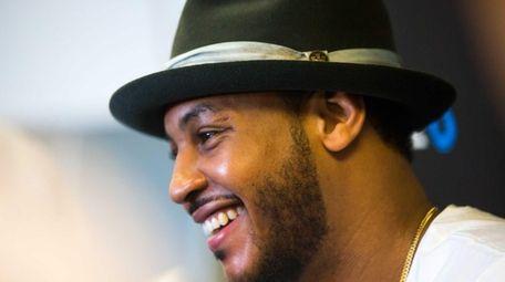 New York Knicks Carmelo Anthony speaks to the