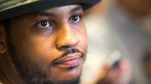 Carmelo Anthony speaks to the media at the