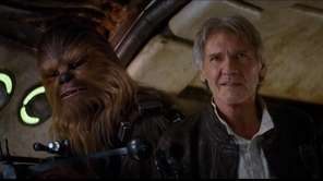 "Chewbacca and Hans Solo (Harrison Ford) in ""Star"