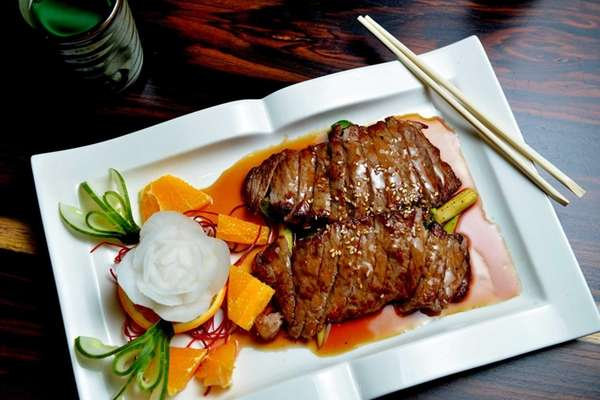 Angus steak teriyaki, flame-grilled and then broiled and
