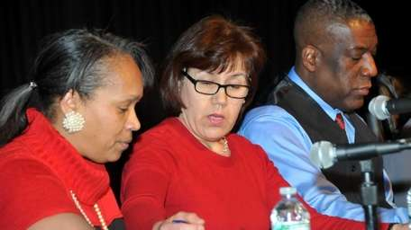 Hempstead trustees, from left, Shelley Brazley, Maribel Toure