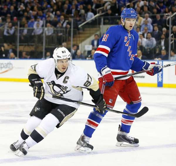 Sidney Crosby of the Pittsburgh Penguins skates in