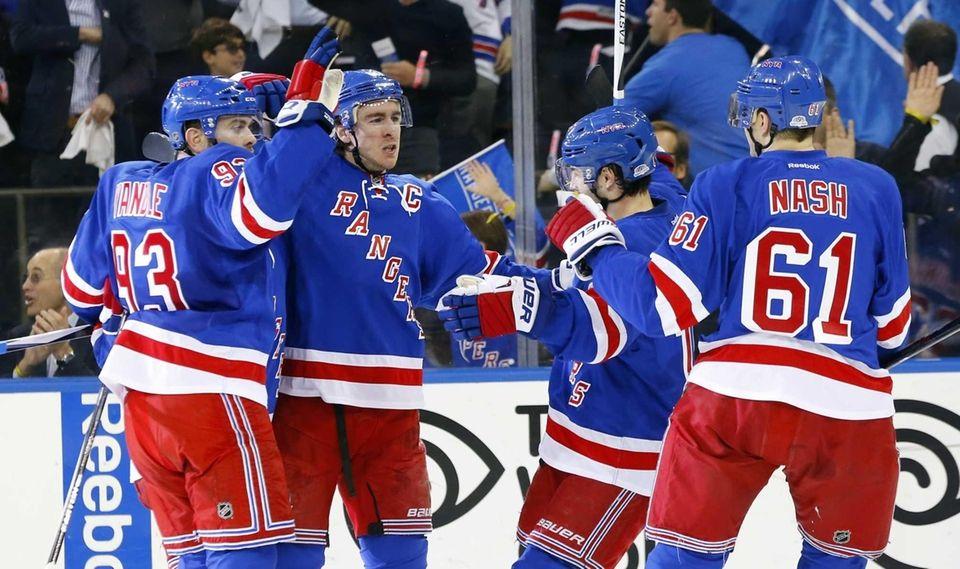 Ryan McDonagh of the New York Rangers celebrates