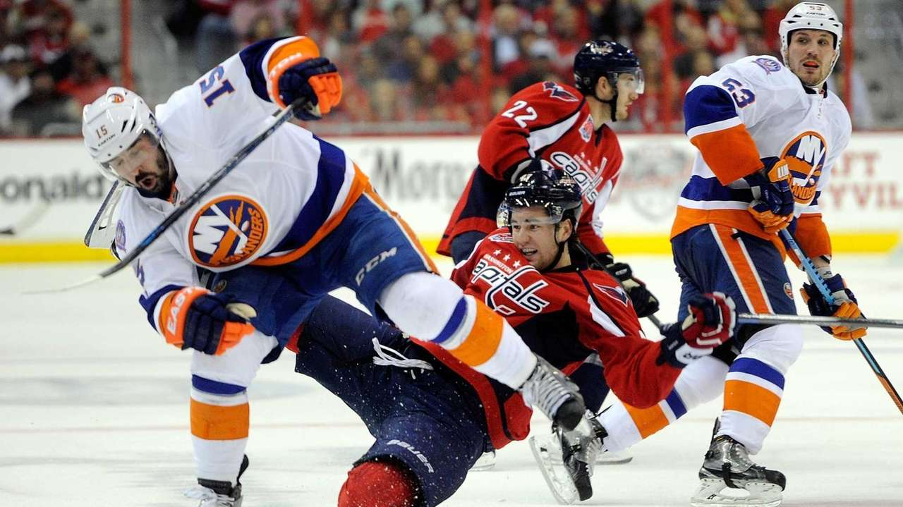 Tom Wilson of the Washington Capitals collides with