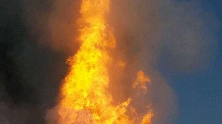 A fireball erupts after a large gas pipeline