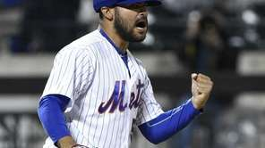 New York Mets relief pitcher Alex Torres reacts