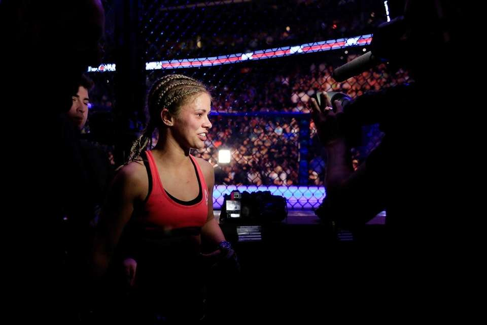 NEWARK, NJ - APRIL 18: Paige VanZant celebrates