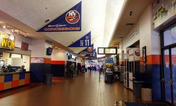 The main concourse at Nassau Coliseum before a