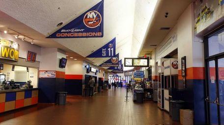The main concourse at Nassau Coliseum before a