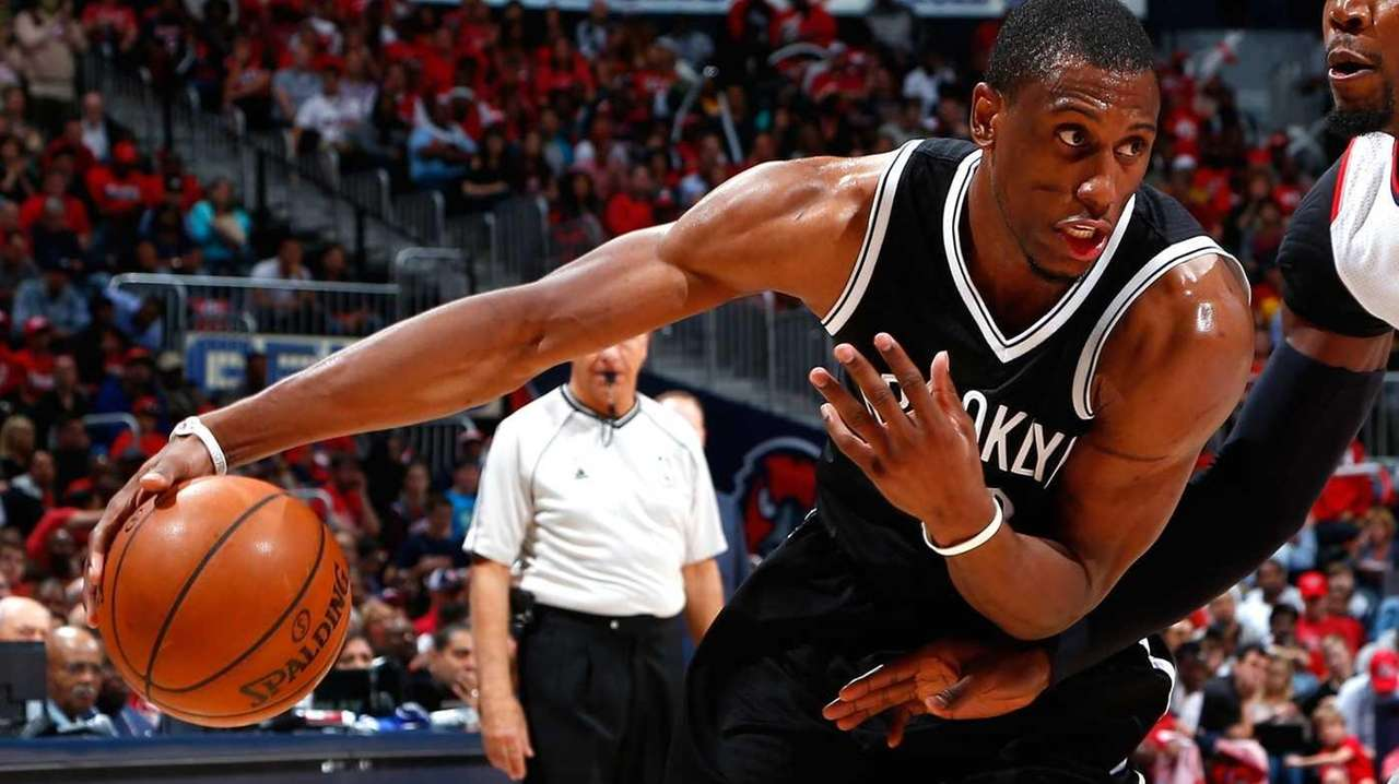 Thaddeus Young #30 of the Brooklyn Nets drives