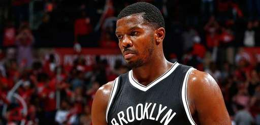 Joe Johnson of the Brooklyn Nets reacts after