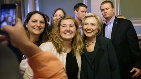 Democratic presidential candidate Hillary Rodham Clinton poses for