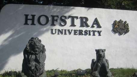 The Hofstra University school sign is seen on