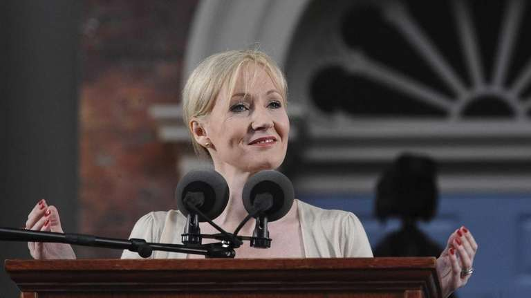 Author J.K. Rowling delivering the commencement address at