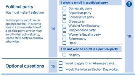 The party affiliation section of the voting ballot.