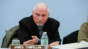 Trustee James Tampellini speaks during a Commack School