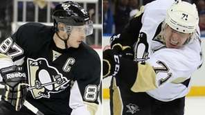 The Pittsburgh Penguins' Sidney Crosby, left, and Evgeni